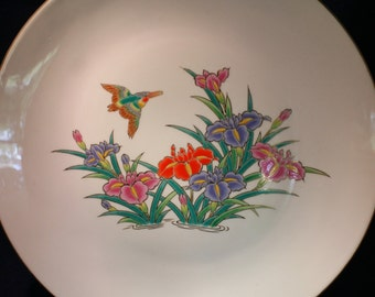 Vibrant Plate - Kingfisher Bird and Flowers
