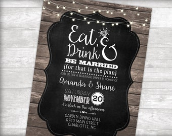 Eat, Drink & Get Married Rehearsal Dinner Invitation Printable