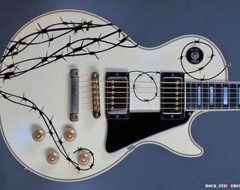 Barb wire guitar stickers vinyl decal set 4
