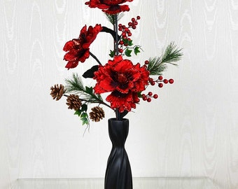 Prancer Red Glitter Peony Bouquet Artificial Flower Arrangement in Black Vase