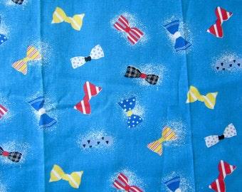 "1950s 1960s VINTAGE NOVELTY FABRIC Bow Tie Print Cotton Yardage 84"" x 59"" skirt worthy!  mid century"
