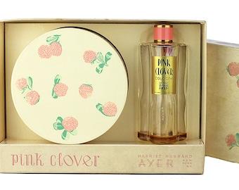 Vintage Harriet Hubbard Ayer Pink Clover Perfume Powder Gift Set In Box, Vintage Vanity, Vintage Perfume Bottle, 1930s, Art Deco