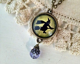 Flying Witch on Green - Halloween necklace