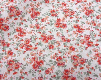 cotton fabric ancient  mille fleur coralred rose ecru patchwork