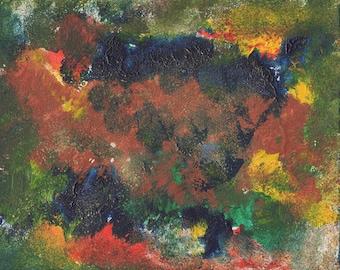 Original Oil Painting, Abstract Art, Volcano