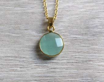 Genuine Opal Necklace with round pendant Green