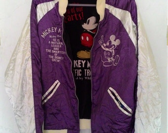 Souvenir Revisble Velvet Satin Disney Mickey Mouse Sukajan Jacket