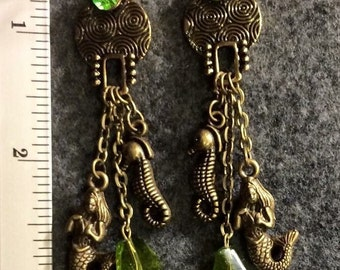 Mermaid and Seahorse earrings
