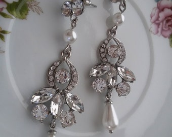 "Crystal Wedding Chandelier Earrings ""Tears of Nature"", Bridal Earrings, Bridal Jewelry, Bridesmaid Earrings, Post Earrings, Dangle Earrings"