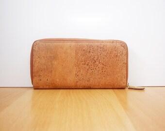 Cork Long Wallet Women Clutch purse with Zipper Phone Wallet Bag