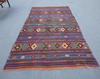 Turkish east anatolian wool rug-kilim,brocaded rug,embroieded kilim rug,130 x 71 inches
