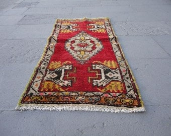 Turkish Vintage Small Rug,bath Room Rug,door Mat Rug,home