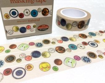 button washi 10M x 1.5 CM vintage button retro button masking tape colorful button sticker tape button theme fashion tape scrapbook gift