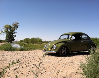 Color Picture of classic Volkswagen Beetle, VW bug, old car photos, classic car, Volkswagen, water, vintage car, desert oasis, gifts for men