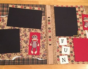 Sock monkey 2 page scrapbook layout
