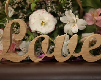 Wooden Love sign - wedding decoration. Free shipping.
