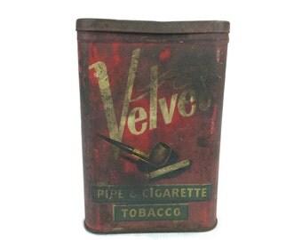 Velvet Pipe And Cigarette Tin, Vintage Tobacco Container, Pipe Tin, Rustic Tin, 1920, Metal Tobacco Holder, Cigarette Tin, Rustic Decor