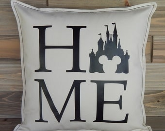 Disney Inspired Pillow Cover 16x16, Disney Home Decor, Disney World, Disney Pillow, Disney Gift, Cinderella's Castle, Mickey Mouse