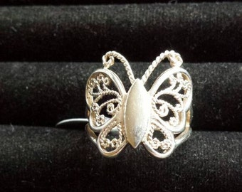 Sterling silver butterfly ring. Size Q