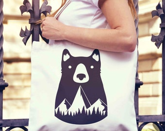 Bear Mountains Tote Bag | Shopping Bag | Reusable Market Bag | Birthday Gift For Her & Him | Style Shopper Bag | Beach Grocery Bag