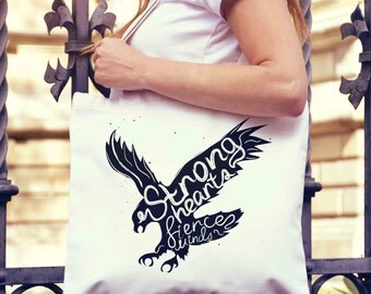Strong Hearts Eagle Typography Tote Bag | Shopping Bag | Reusable Market Bag | Birthday Gift For Her & Him | Shopper Bag | Beach Grocery Bag