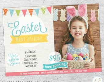 Easter Marketing Board Template, Easter Mini Session Template, Photography Marketing, Facebook, Photoshop, Photographer - 06-003