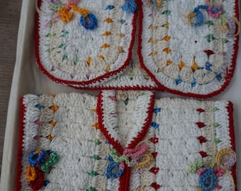 Vintage 50's Crochet Pot Holders ~ White with Red Trim ~ New