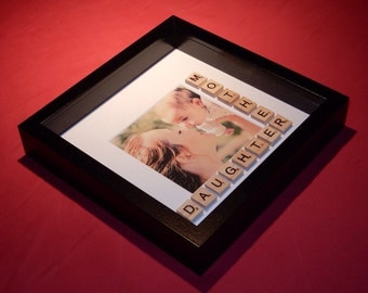 Mother and Daughter Scrabble Art Photo Picture Frame. Mother's Day. Birthday