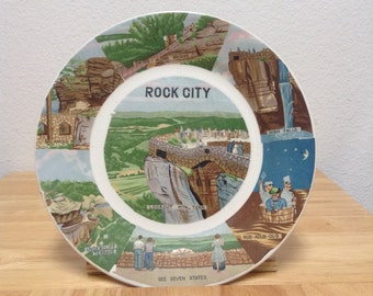 Vintage Rock City Lookout Mountain Georgia Souvenir Ceramic Dish See Rock City Plate