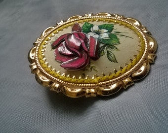 1970's Decoupage Brooch Rose Flower Vintage