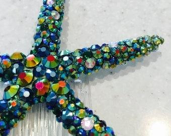 Handmade Rhinestone Encrusted Starfish Hair Comb in Green