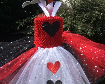 Alice in wonderland tutu, Red queen tutu, Queen of hearts tutu, Queen of hearts dress up, Sequin tutu, long tutu, queen of hearts costume