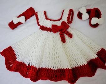 Handmade crochet dress with cute shoes and headband