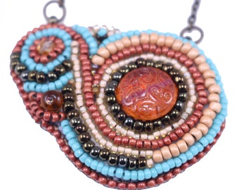 Free Form Bead Embroidered Pendant