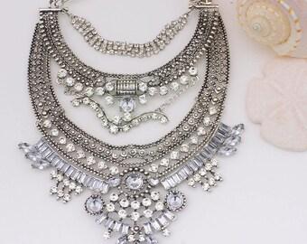Bohemian Statement Necklace / Boho Jewel / Hippie Tribal Necklace / Bohemian Gypsy Necklace / Crystal Statement Necklace / Chunky Boho Jewel