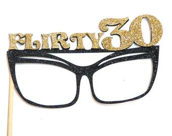 Photo Booth Props - 1PC Flirty 30 Glitter Glasses