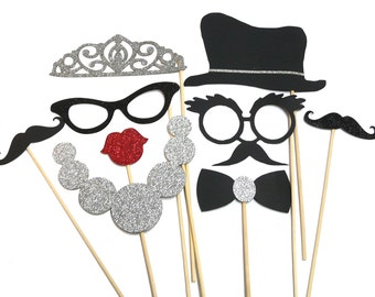 Photo Booth Props -  9PC Vintage Hollywood Tiara Photo Booth Props
