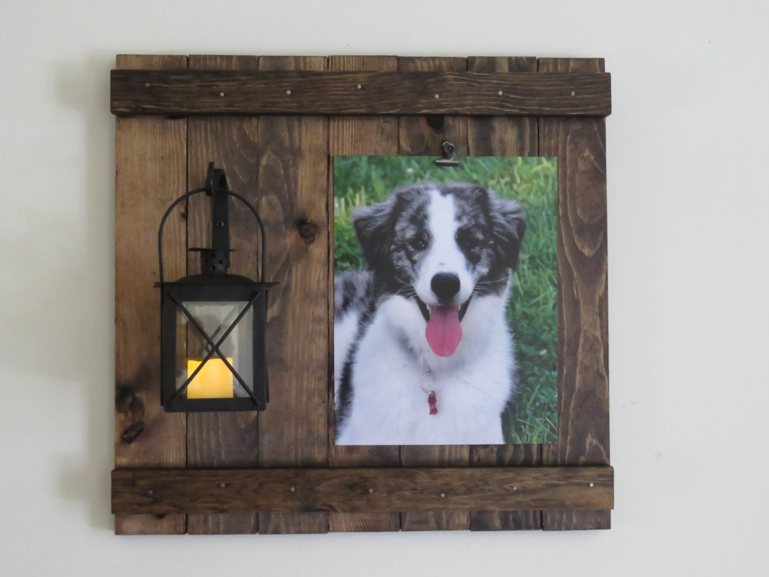 Lantern With Wrought Iron Rustic Picture Frame Rustic Wall