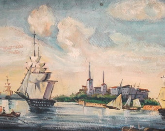 Vintage oil painting seascape fishing boats