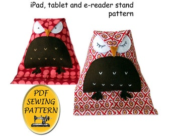 Tablet stand sewing pattern. Free Pattern (Almost). Owl design iPad stand. Instant download PDF.
