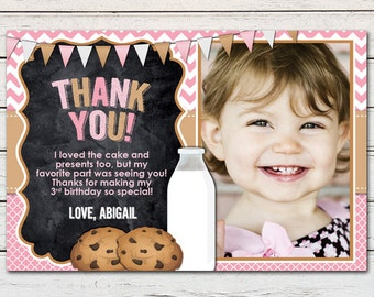 """Cookies and Milk Girl Printable 4"""" x 6"""" Thank You Card - DIY - PDF & JPG Files only"""