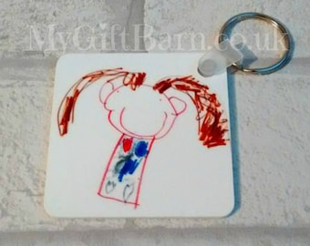 Your Childs Artwork on a Keyring. Personalised Child's Drawing. Father's Day Gift