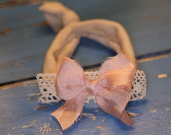 Newborn Headband * Jersey Band * Photography Prop * Pink Bow and Lace