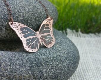 Copper Butterfly Pendant, Butterfly Jewelry, Copper Jewelry, Etched Pendant, Metalwork Jewelry, Gift For Her, Copper Butterfly Jewelry