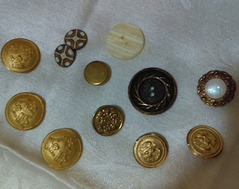 Vintage Buttons lot of 12