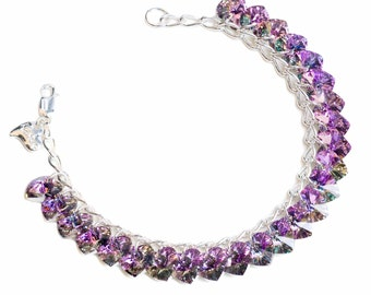 Light Vitrail Heart to Heart Sterling Silver & SWAROVSKI crystal Charm Bracelet