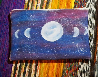 Moon Phase Clutch, Hand Made and Painted Original