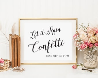 Let it Rain Confetti Send Off Sign, Personalized Wedding Sign, Send Off Sign, Wedding Confetti Sign, Wedding Send Off Sign, WIS04