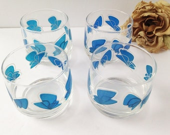 Set of 4 Vintage Butterfly Water Glasses / Butterfly Drinking Glasses / Butterfly glass cups / set of Water glasses / blue water glasses /