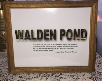 Walden Pond, Henry David Thoreau, Inspirational Print!  Literary Print!